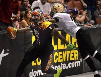 LA KISS host the Las Vegas Outlaws for an arena football game at the Honda Center.