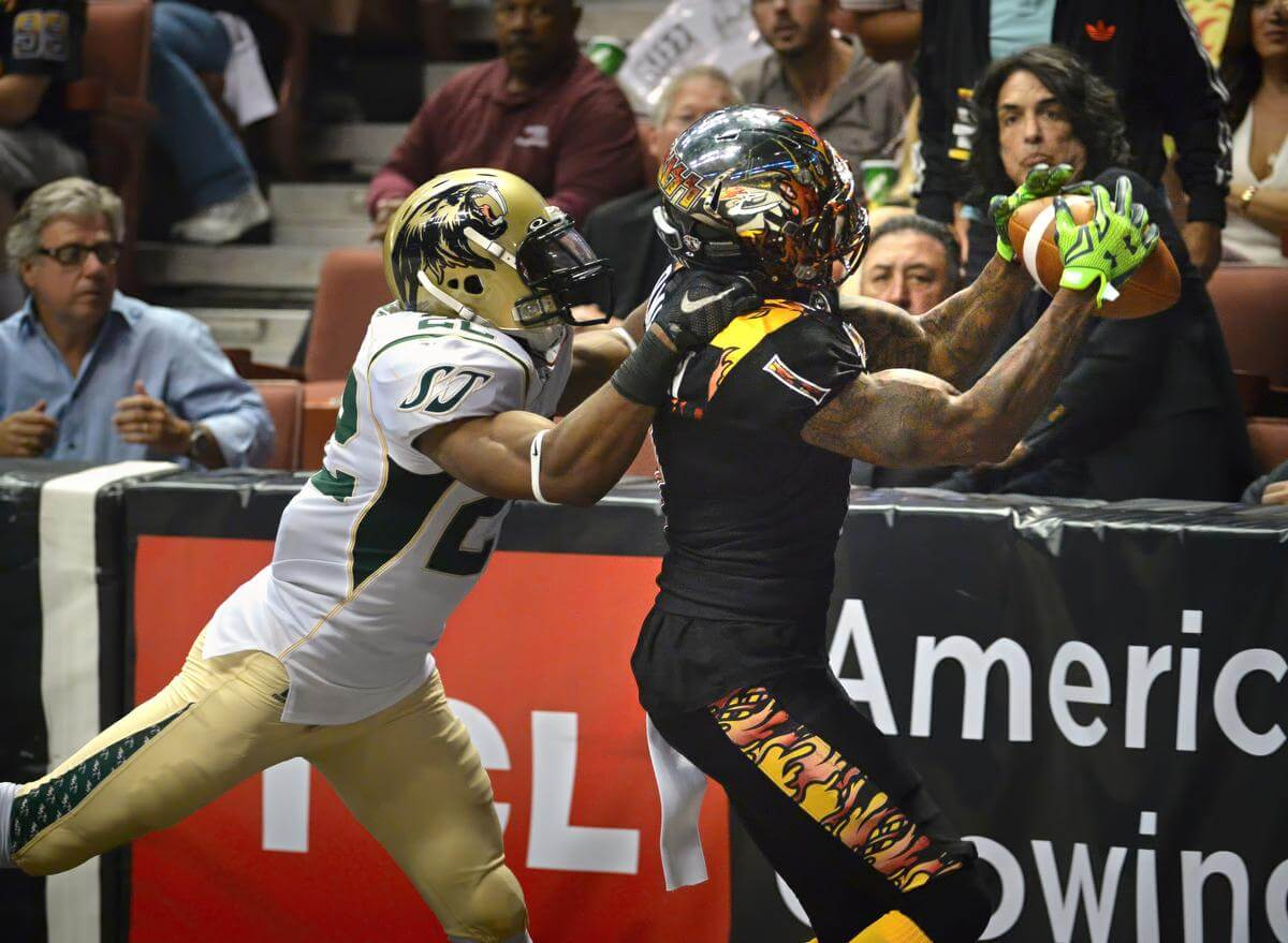 The LA KISS host the San Jose SaberCats in an arena football game for the last regular season match at the Honda Center.