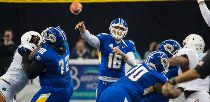Tampa Bay Storm play the Arizoan Rattlers during their Arena Football Game at the Amalie Arena on May 29, 2016 in Tampa, Florida.