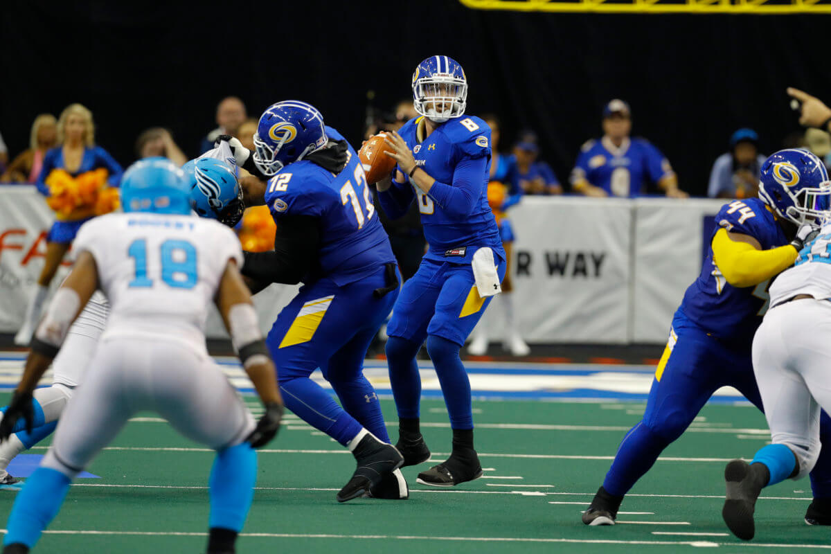 Tampa Bay Storm play the Philadelphia Soul during their Arena Football Game at the Amalie Arena on July 16, 2016 in Tampa, Florida.