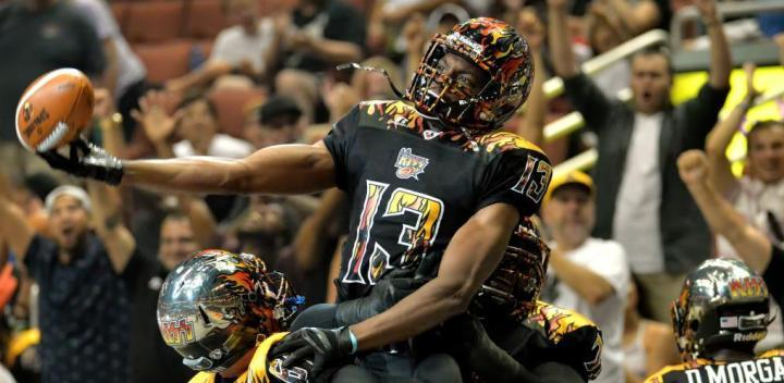 LA KISS hosts the Spokane Shock in an arena football game at the Honda Center.